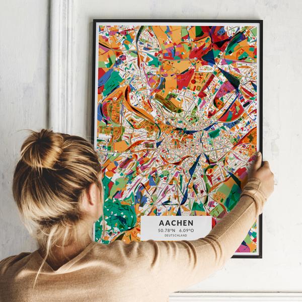 City-Map Aachen im Stil Kandinsky