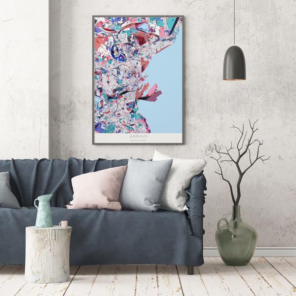 Stadtkarte Aarhus im Stil Primavera