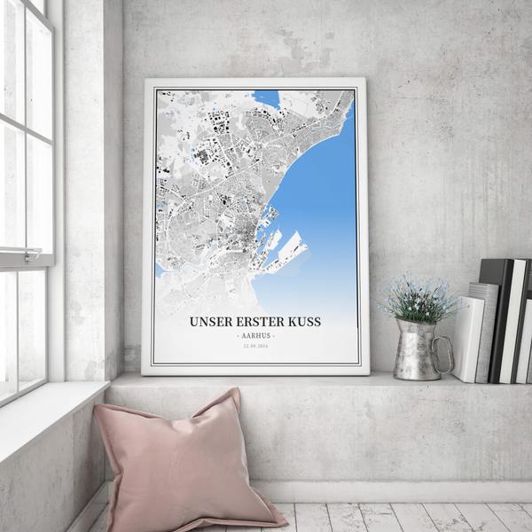 Stadtkarte Aarhus im Stil Schwarzplan