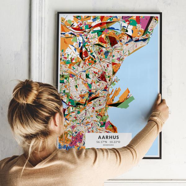 City-Map Aarhus im Stil Kandinsky
