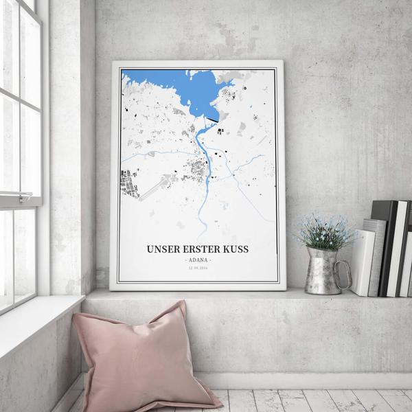 Stadtkarte Adana im Stil Schwarzplan