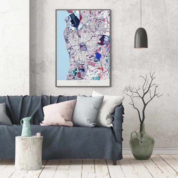 Stadtkarte Adelaide im Stil Primavera
