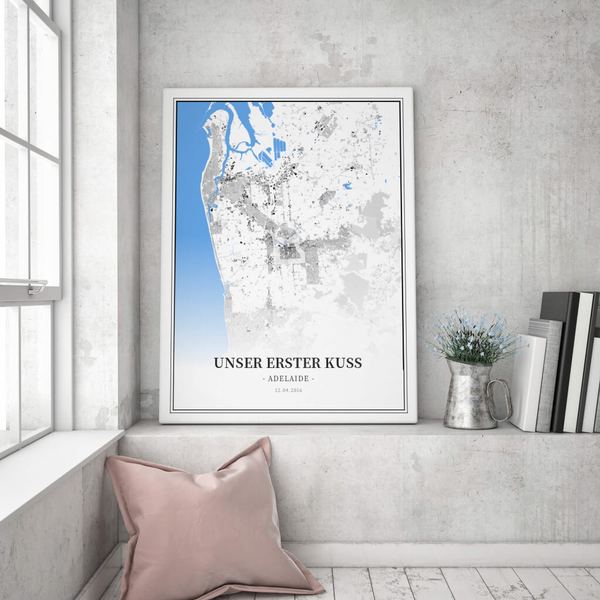 Stadtkarte Adelaide im Stil Schwarzplan