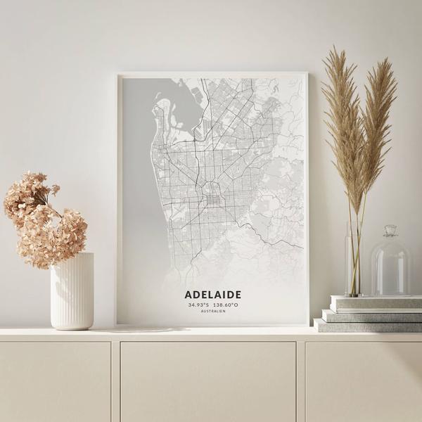 City-Map Adelaide im Stil Elegant