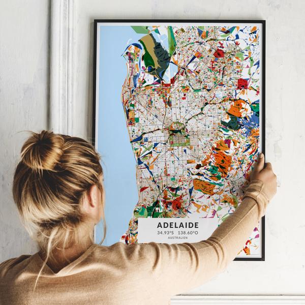 City-Map Adelaide im Stil Kandinsky