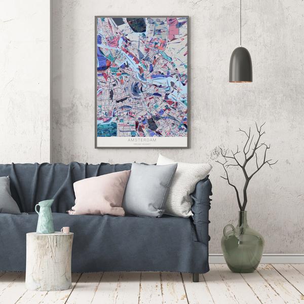 Stadtkarte Amsterdam im Stil Primavera