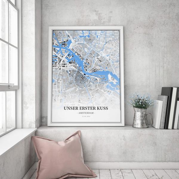 Stadtkarte Amsterdam im Stil Schwarzplan