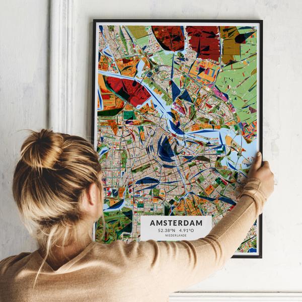 City-Map Amsterdam im Stil Kandinsky