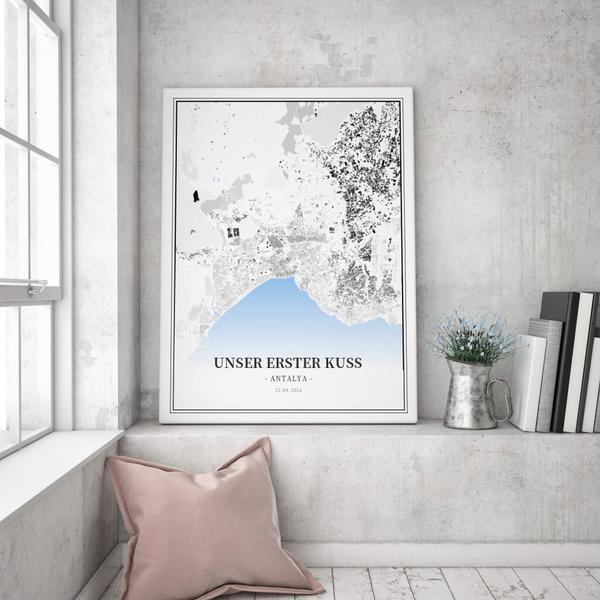 Stadtkarte Antalya im Stil Schwarzplan