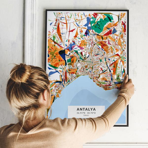 City-Map Antalya im Stil Kandinsky