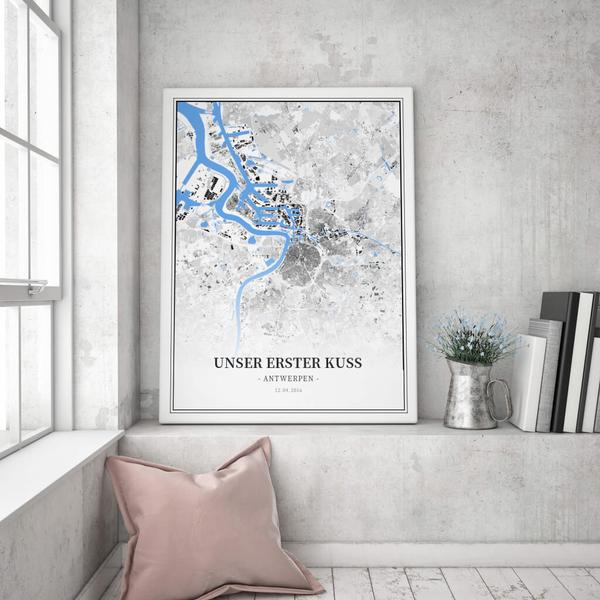 Stadtkarte Antwerpen im Stil Schwarzplan