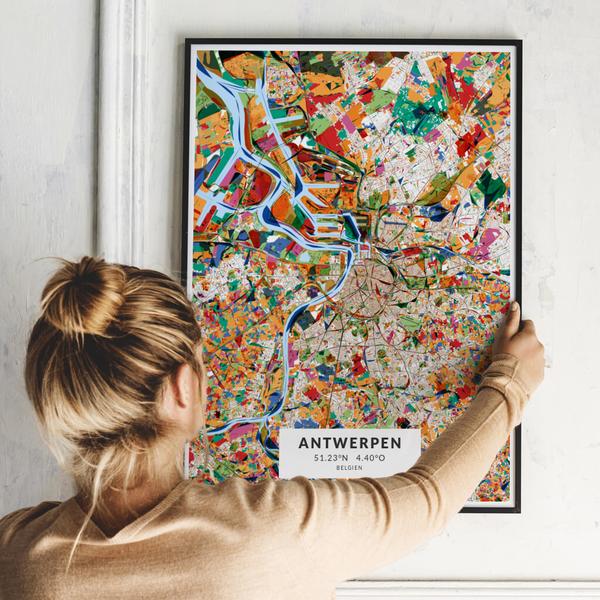 City-Map Antwerpen im Stil Kandinsky