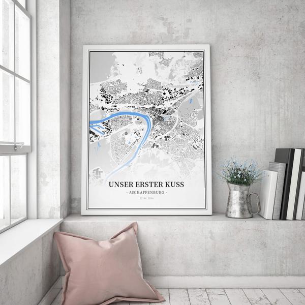 Stadtkarte Aschaffenburg im Stil Schwarzplan