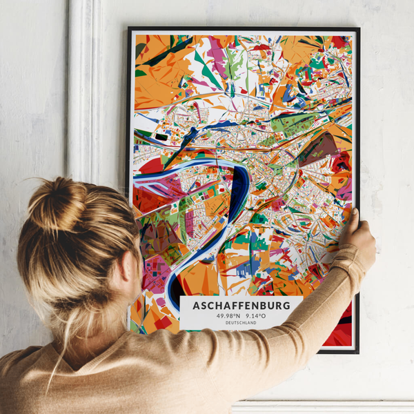City-Map Aschaffenburg im Stil Kandinsky