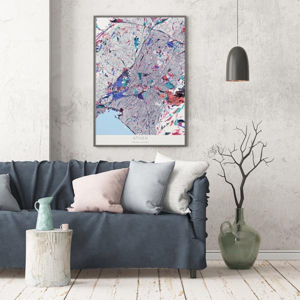 Stadtkarte Athen im Stil Primavera