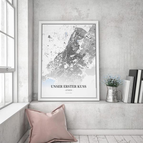 Stadtkarte Athen im Stil Schwarzplan