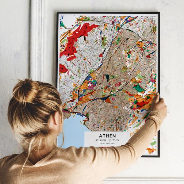 City-Map Athen im Stil Kandinsky