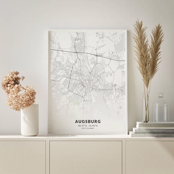 City-Map Augsburg im Stil Elegant