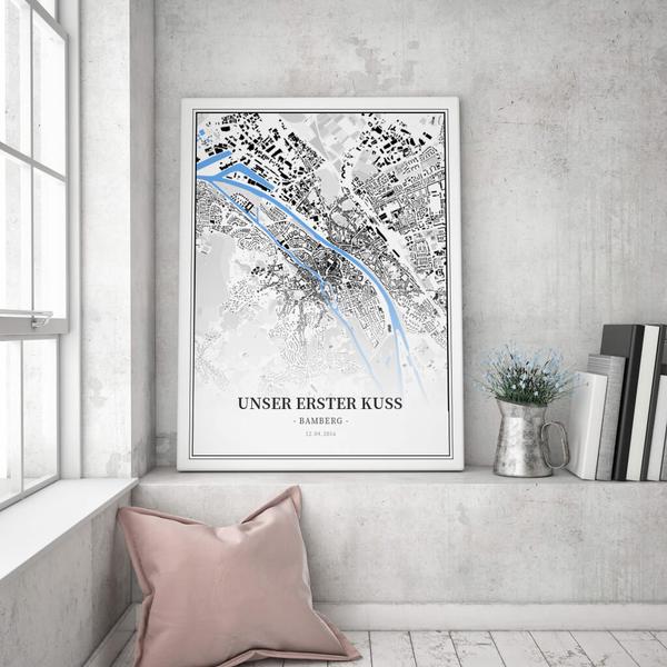 Stadtkarte Bamberg im Stil Schwarzplan