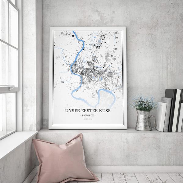 Stadtkarte Bangkok im Stil Schwarzplan