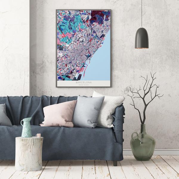 Stadtkarte Barcelona im Stil Primavera