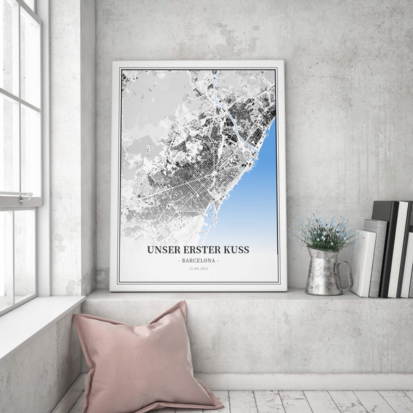 Stadtkarte Barcelona im Stil Schwarzplan