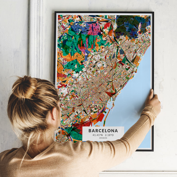 City-Map Barcelona im Stil Kandinsky