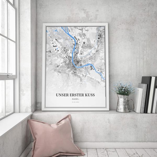 Stadtkarte Basel im Stil Schwarzplan