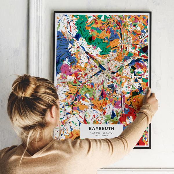 City-Map Bayreuth im Stil Kandinsky