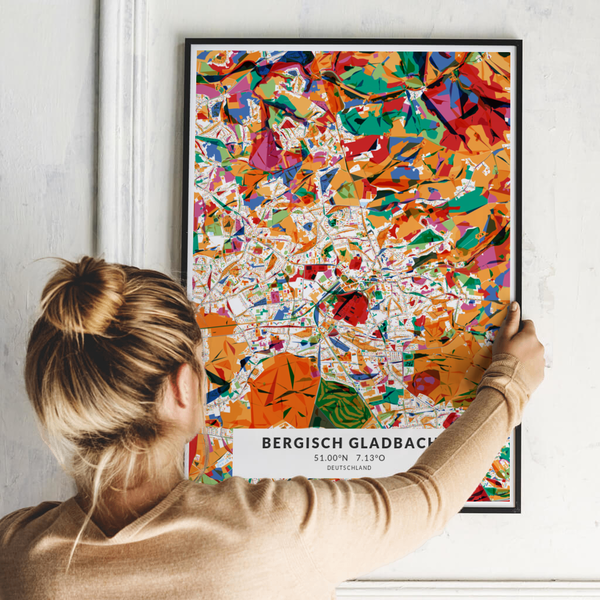 City-Map Bergisch Gladbach im Stil Kandinsky