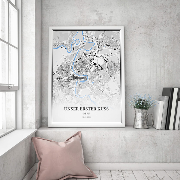 Stadtkarte Bern im Stil Schwarzplan
