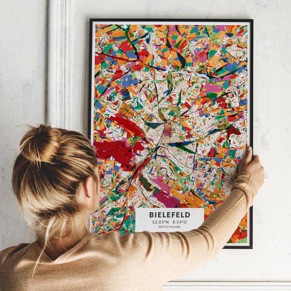 City-Map Bielefeld im Stil Kandinsky