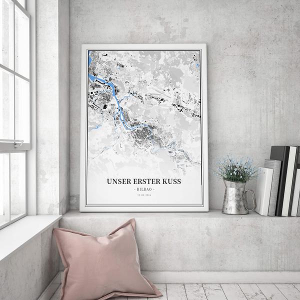 Stadtkarte Bilbao im Stil Schwarzplan