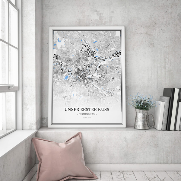 Stadtkarte Birmingham im Stil Schwarzplan