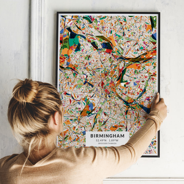City-Map Birmingham im Stil Kandinsky