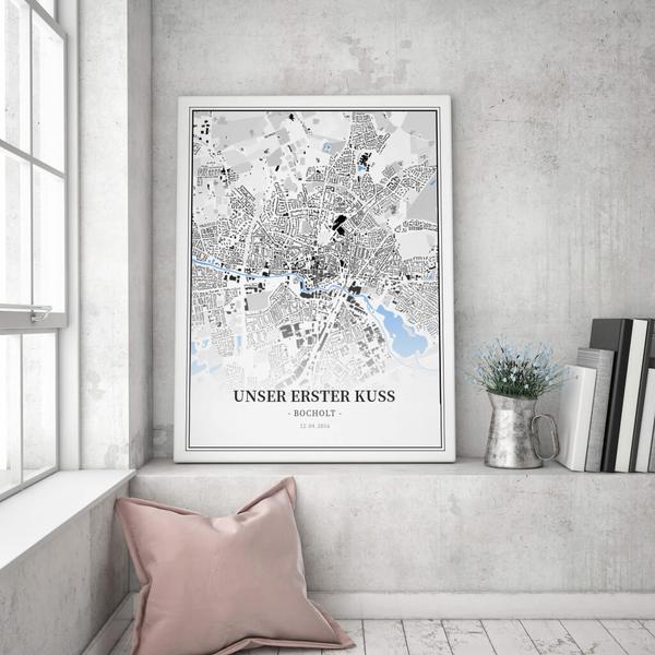 Stadtkarte Bocholt im Stil Schwarzplan