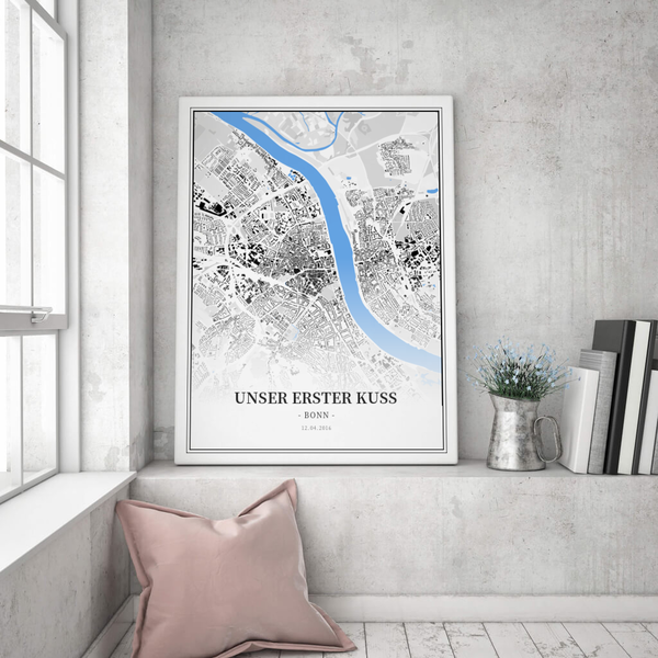 Stadtkarte Bonn im Stil Schwarzplan