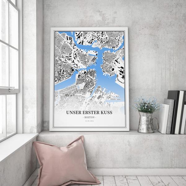 Stadtkarte Boston im Stil Schwarzplan