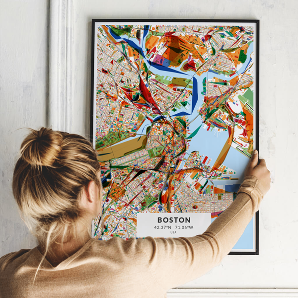 City-Map Boston im Stil Kandinsky