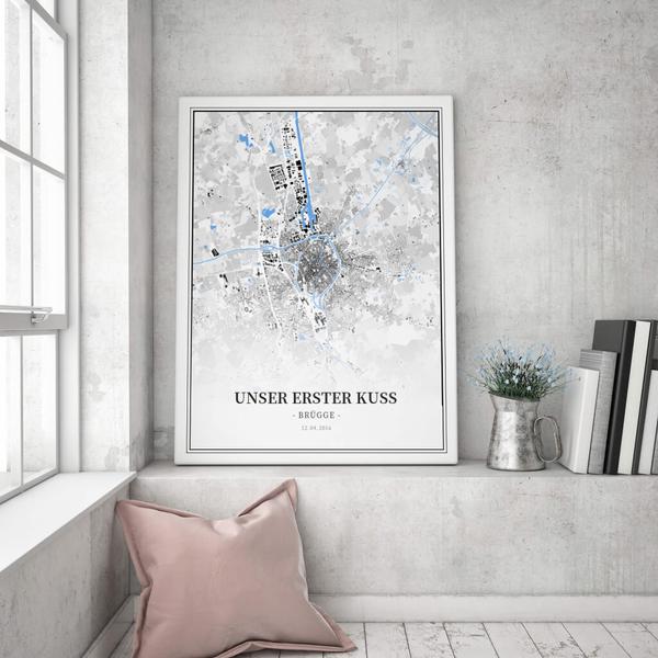 Stadtkarte Brügge im Stil Schwarzplan