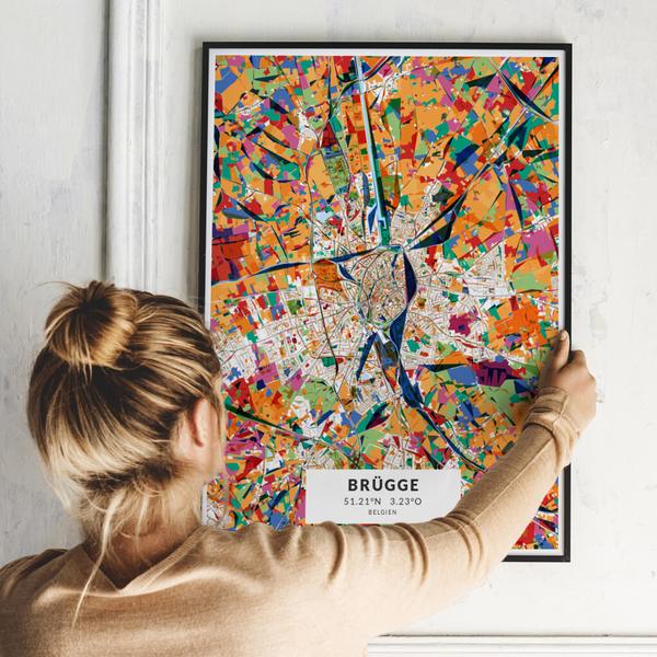City-Map Brügge im Stil Kandinsky