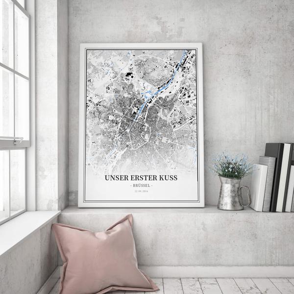 Stadtkarte Brüssel im Stil Schwarzplan