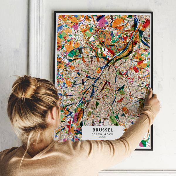 City-Map Brüssel im Stil Kandinsky
