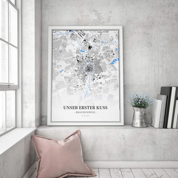 Stadtkarte Braunschweig im Stil Schwarzplan