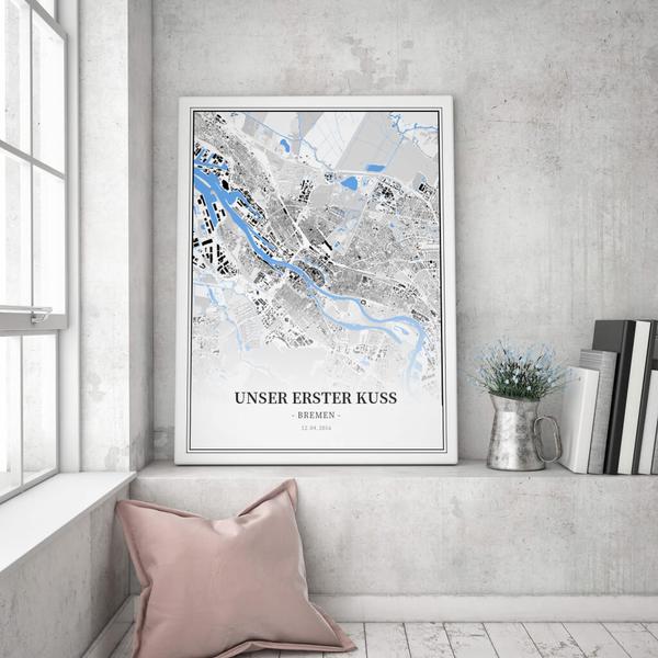 Stadtkarte Bremen im Stil Schwarzplan