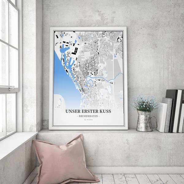 Stadtkarte Bremerhaven im Stil Schwarzplan