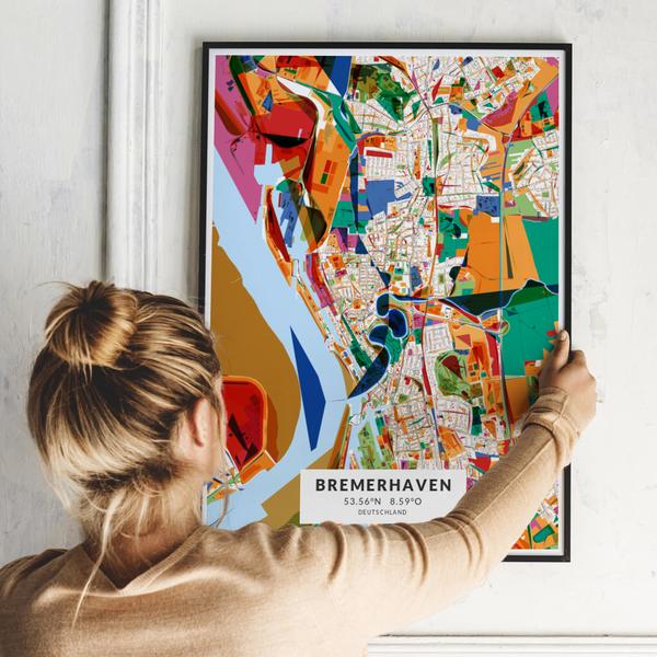 City-Map Bremerhaven im Stil Kandinsky