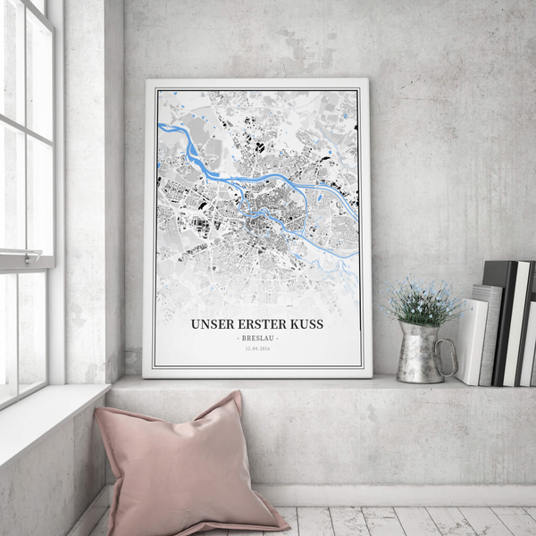 Stadtkarte Breslau im Stil Schwarzplan