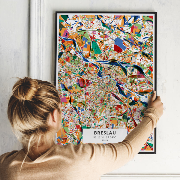 City-Map Breslau im Stil Kandinsky