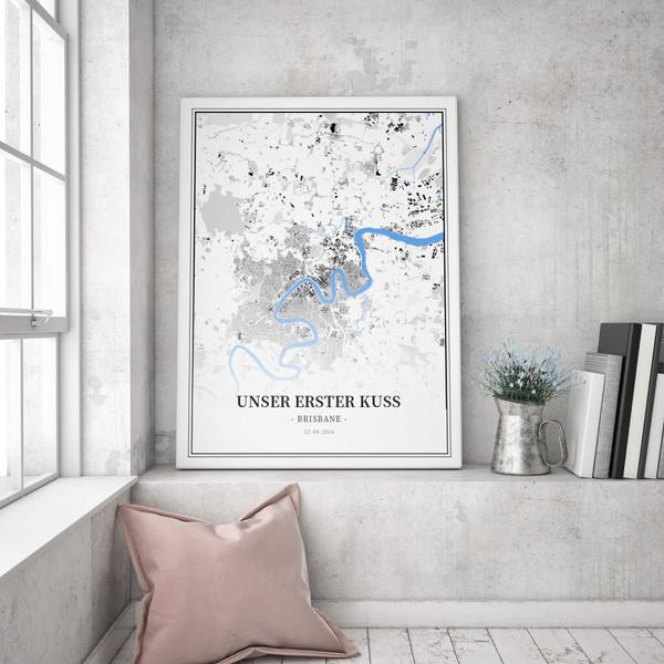Stadtkarte Brisbane im Stil Schwarzplan